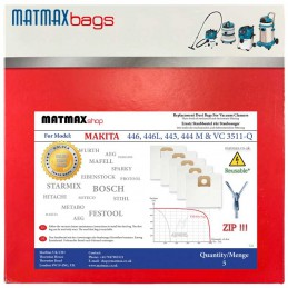 ZIP Bags For Makita:  446, 446L, 443, 444 M & VC 3511-Q