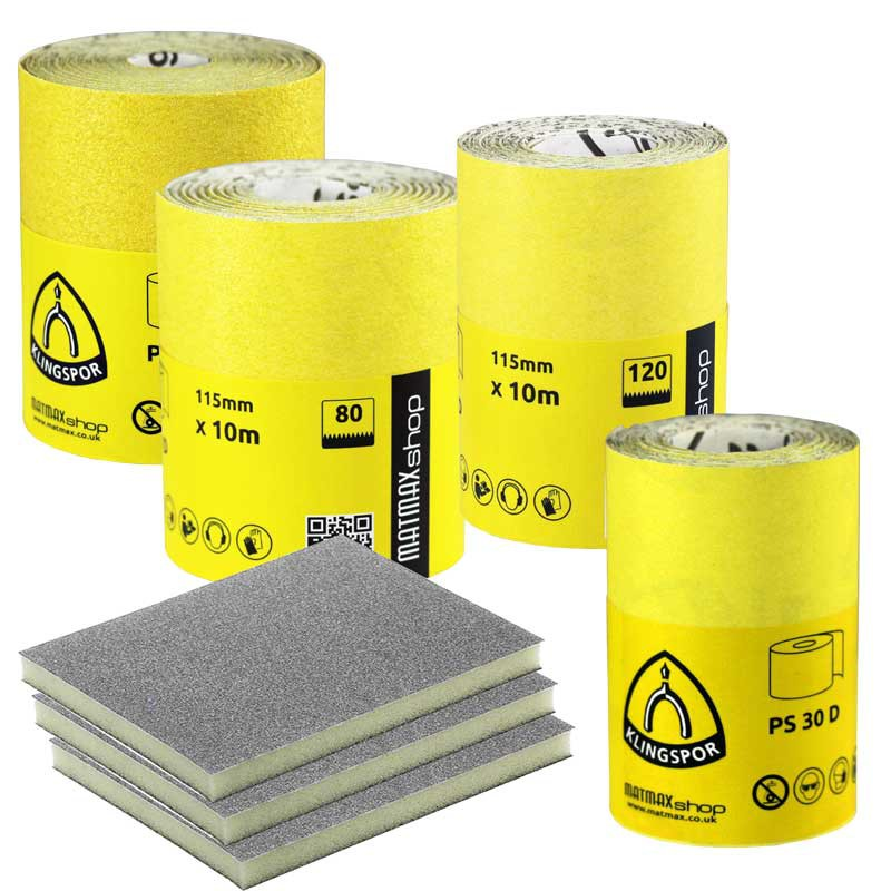 Klingspor Sandpaper rolls + 3 sanding pads