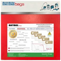 5x Dust Bags for: Festool SC-FIS-CT MINI/MIDI-2/5/CT15