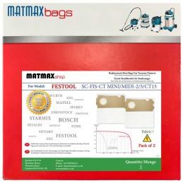 2x Dust Bags for: Festool SC-FIS-CT MINI/MIDI-2/5/CT15