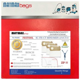 Reusable* Bags for: Festool SC-FIS-CT MINI/MIDI-2/5/CT15