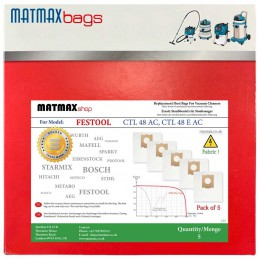 5x Dust Bags for: Festool CTL 48 AC, CTL 48 E AC