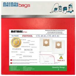 2x Dust Bags for: Festool CTL 48 AC, CTL 48 E AC