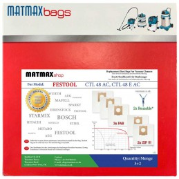 Reusable* Bags for: Festool CTL 48 AC, CTL 48 E AC